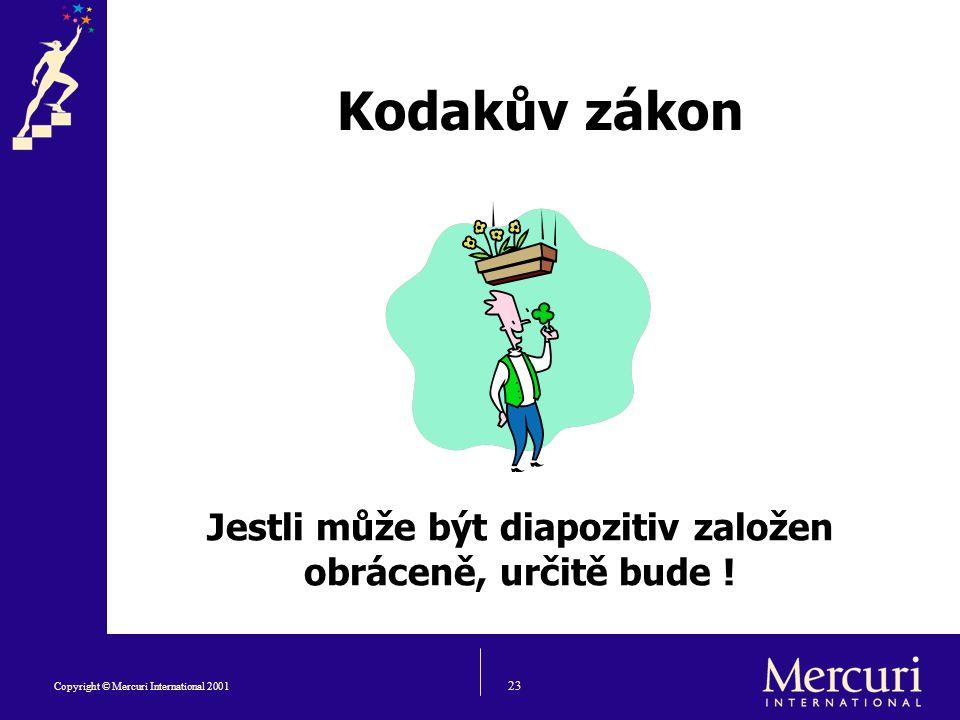 23 Copyright © Mercuri International 2001 Kodakův zákon Jestli může být diapozitiv založen obráceně, určitě bude !
