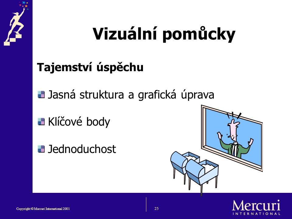 25 Copyright © Mercuri International 2001 Vizuální pomůcky Tajemství úspěchu Jasná struktura a grafická úprava Klíčové body Jednoduchost