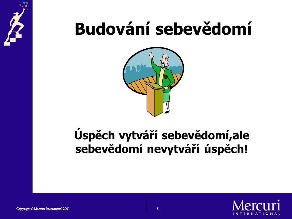 8 Copyright © Mercuri International 2001 Budování sebevědomí Úspěch vytváří sebevědomí,ale sebevědomí nevytváří úspěch!