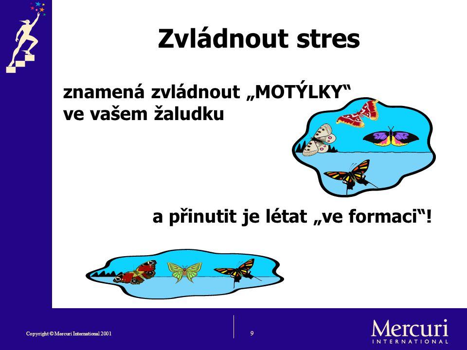 """9 Copyright © Mercuri International 2001 Zvládnout stres znamená zvládnout """"MOTÝLKY ve vašem žaludku a přinutit je létat """"ve formaci !"""