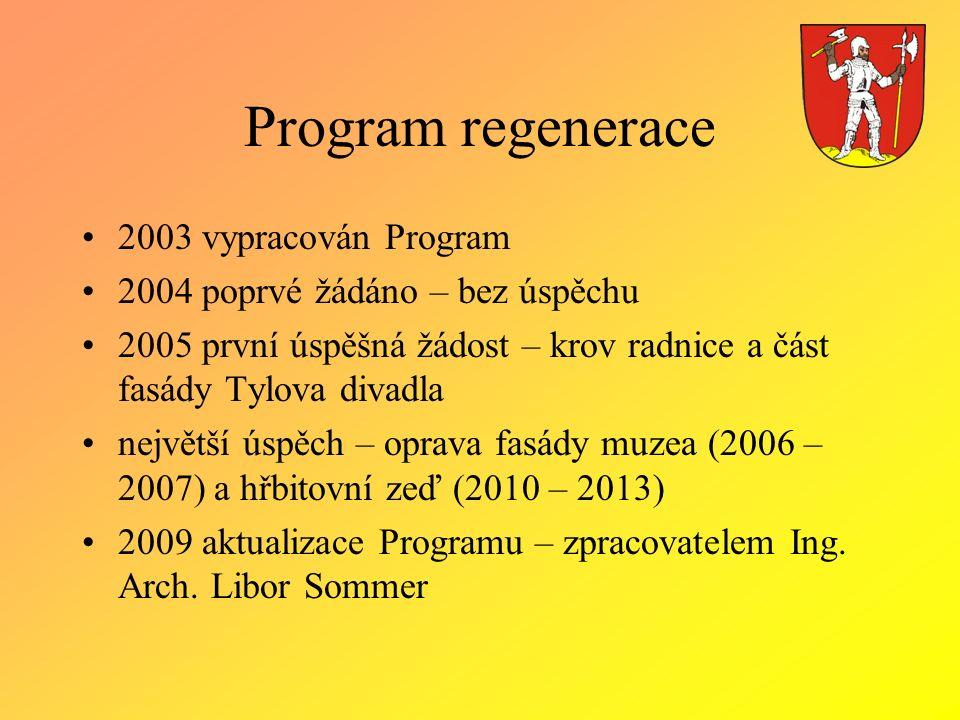 Program regenerace 2003 vypracován Program 2004 poprvé žádáno – bez úspěchu 2005 první úspěšná žádost – krov radnice a část fasády Tylova divadla nejv