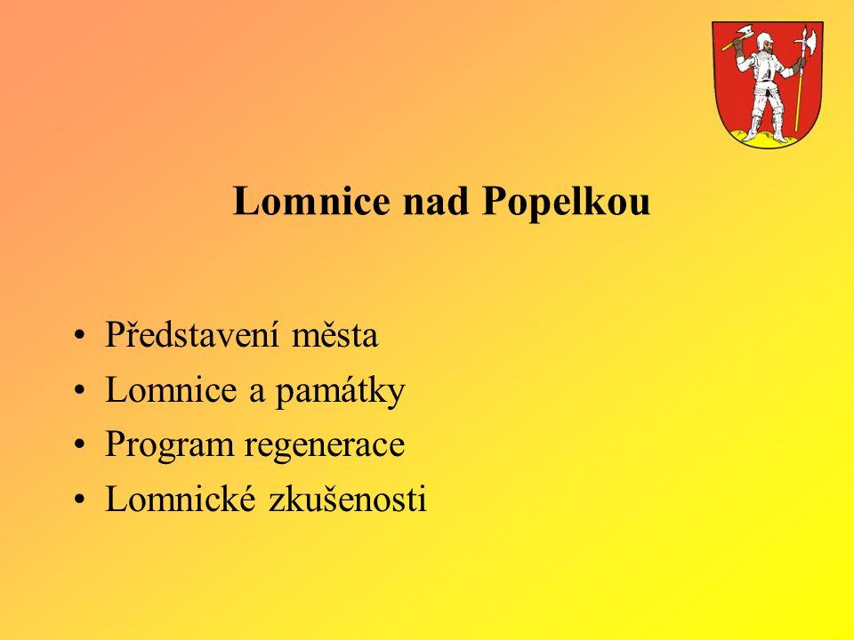 Lomnice nad Popelkou Představení města Lomnice a památky Program regenerace Lomnické zkušenosti