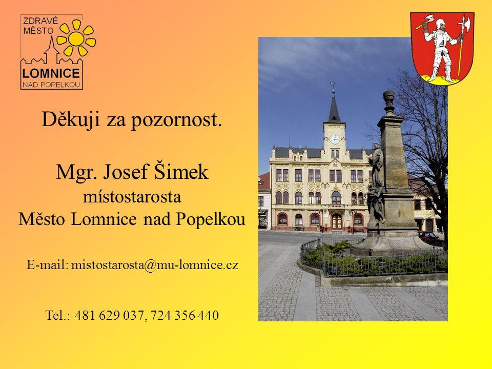 Děkuji za pozornost. Mgr. Josef Šimek místostarosta Město Lomnice nad Popelkou E-mail: mistostarosta@mu-lomnice.cz Tel.: 481 629 037, 724 356 440