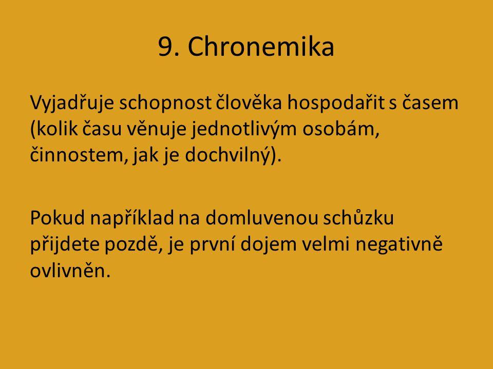 9. Chronemika Vyjadřuje schopnost člověka hospodařit s časem (kolik času věnuje jednotlivým osobám, činnostem, jak je dochvilný). Pokud například na d