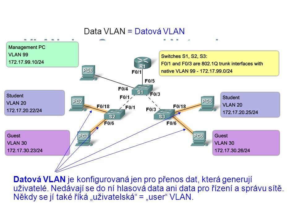 Datová VLAN je konfigurovaná jen pro přenos dat, která generují uživatelé. Nedávají se do ní hlasová data ani data pro řízení a správu sítě. Někdy se