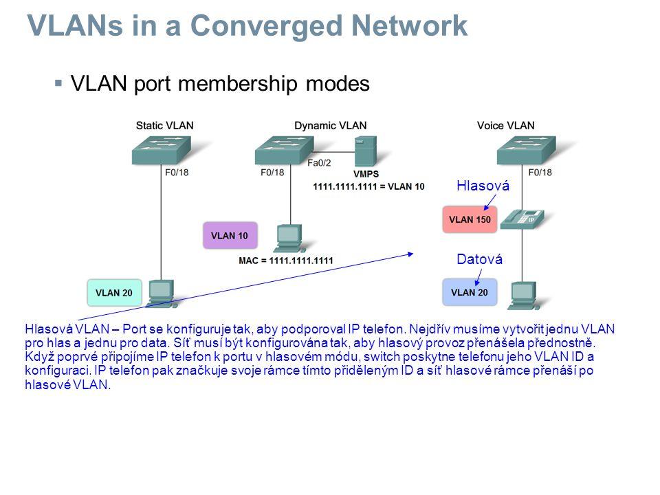  VLAN port membership modes Hlasová VLAN – Port se konfiguruje tak, aby podporoval IP telefon. Nejdřív musíme vytvořit jednu VLAN pro hlas a jednu pr