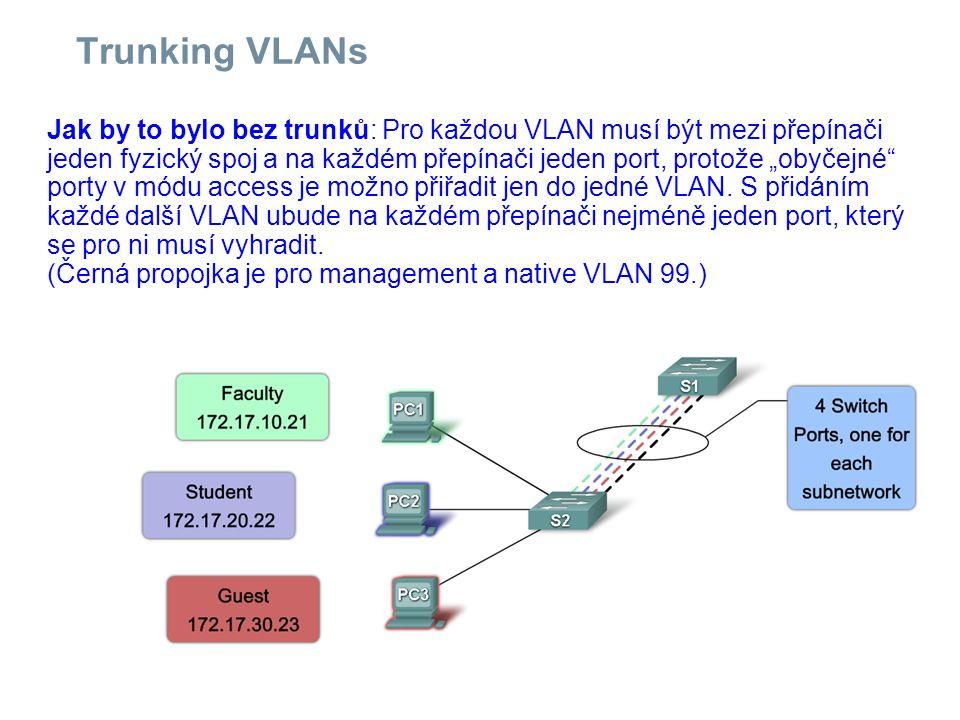 """Trunking VLANs Jak by to bylo bez trunků: Pro každou VLAN musí být mezi přepínači jeden fyzický spoj a na každém přepínači jeden port, protože """"obyčej"""