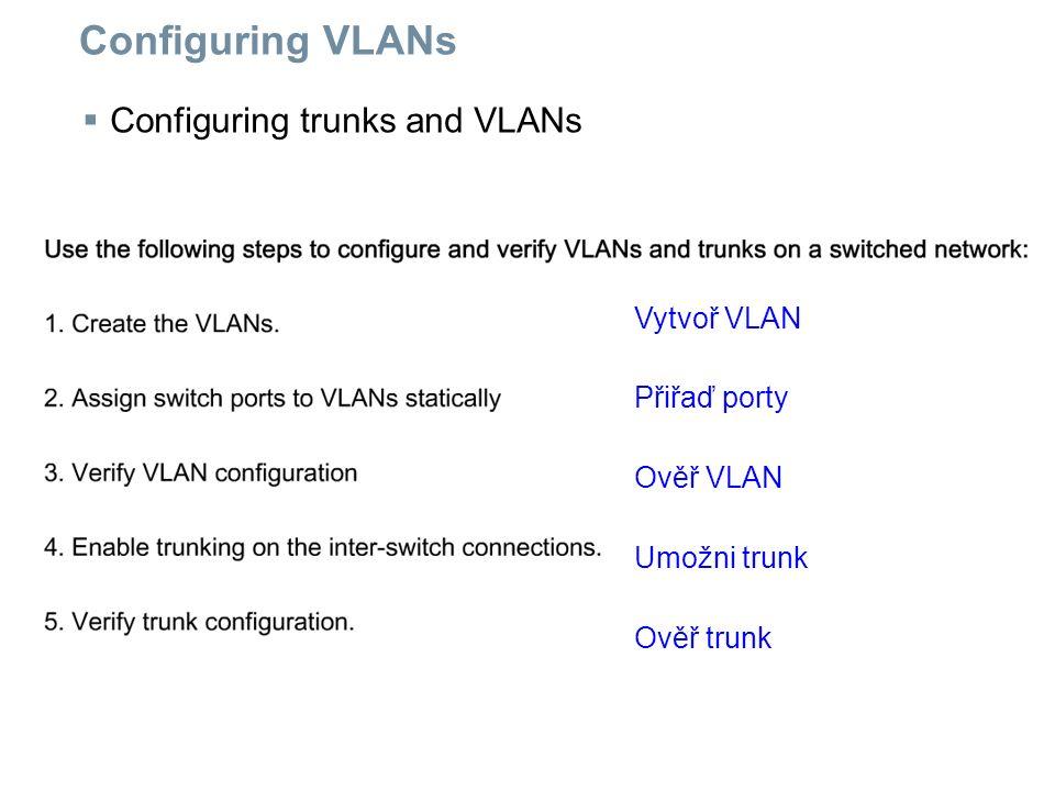 Configuring VLANs  Configuring trunks and VLANs Vytvoř VLAN Přiřaď porty Ověř VLAN Umožni trunk Ověř trunk