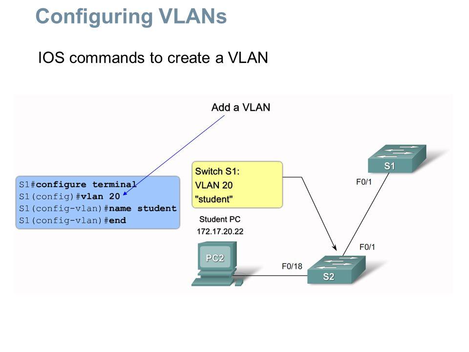 IOS commands to create a VLAN Configuring VLANs