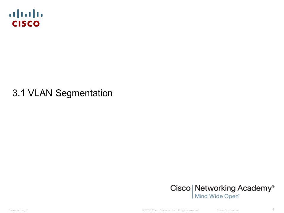© 2008 Cisco Systems, Inc. All rights reserved.Cisco ConfidentialPresentation_ID 4 3.1 VLAN Segmentation