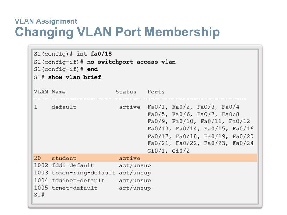 VLAN Assignment Changing VLAN Port Membership