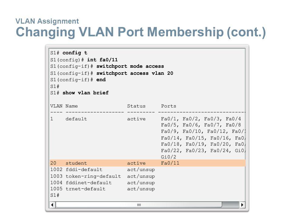 VLAN Assignment Changing VLAN Port Membership (cont.)