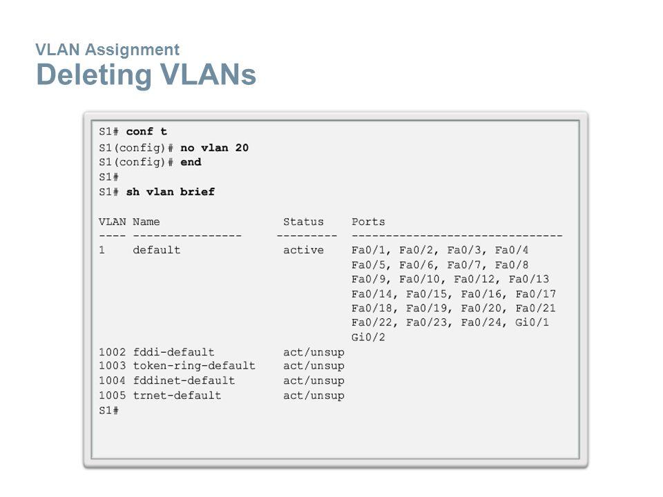 VLAN Assignment Deleting VLANs