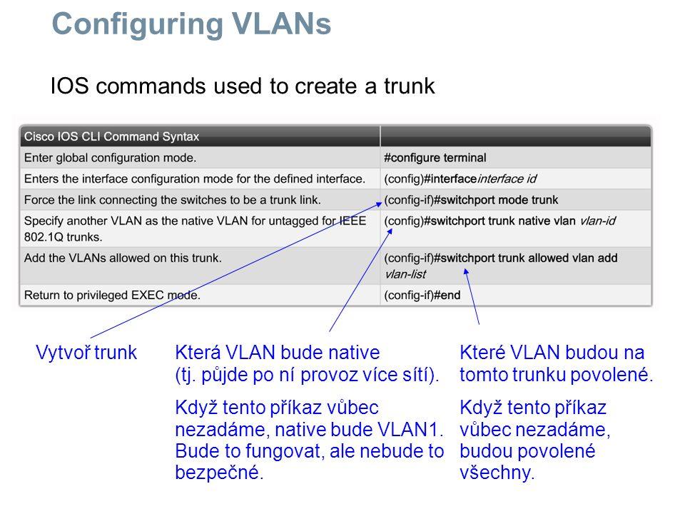 IOS commands used to create a trunk Configuring VLANs Vytvoř trunkKterá VLAN bude native (tj. půjde po ní provoz více sítí). Když tento příkaz vůbec n