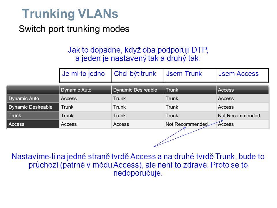 Switch port trunking modes Trunking VLANs Jak to dopadne, když oba podporují DTP, a jeden je nastavený tak a druhý tak: Je mi to jednoChci být trunkJs