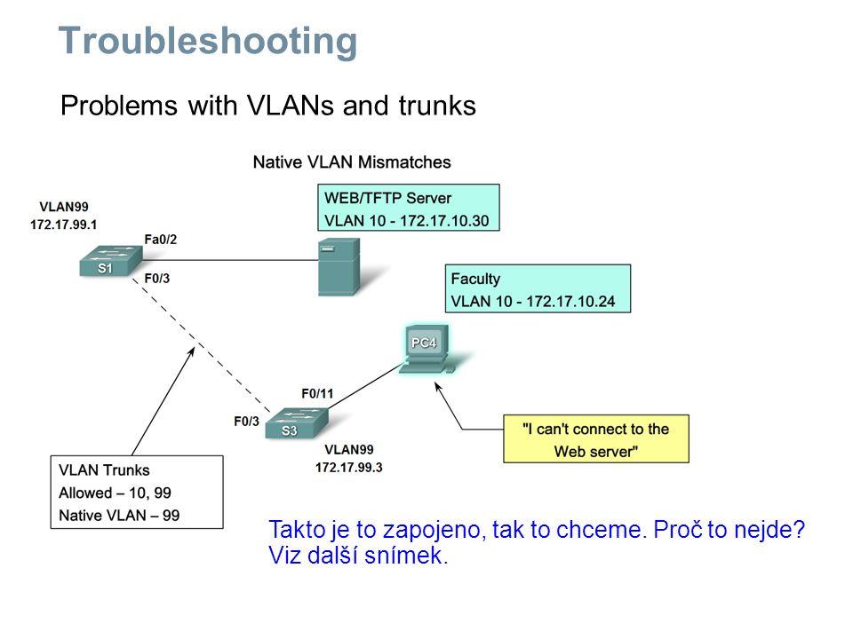 Problems with VLANs and trunks Takto je to zapojeno, tak to chceme. Proč to nejde? Viz další snímek. Troubleshooting