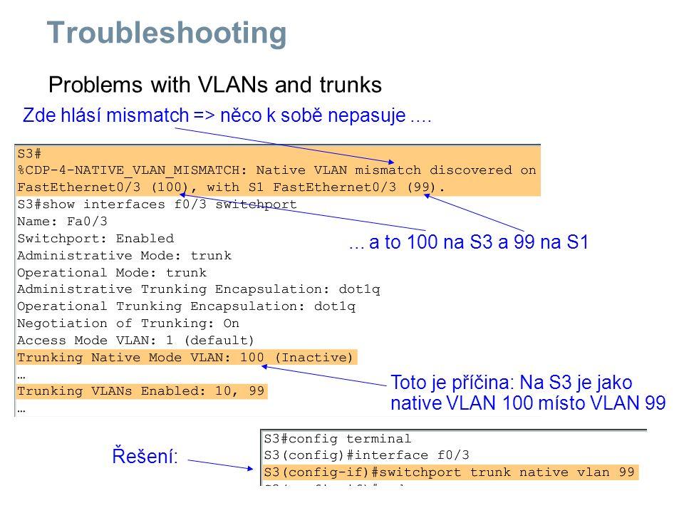 Problems with VLANs and trunks Zde hlásí mismatch => něco k sobě nepasuje....... a to 100 na S3 a 99 na S1 Toto je příčina: Na S3 je jako native VLAN