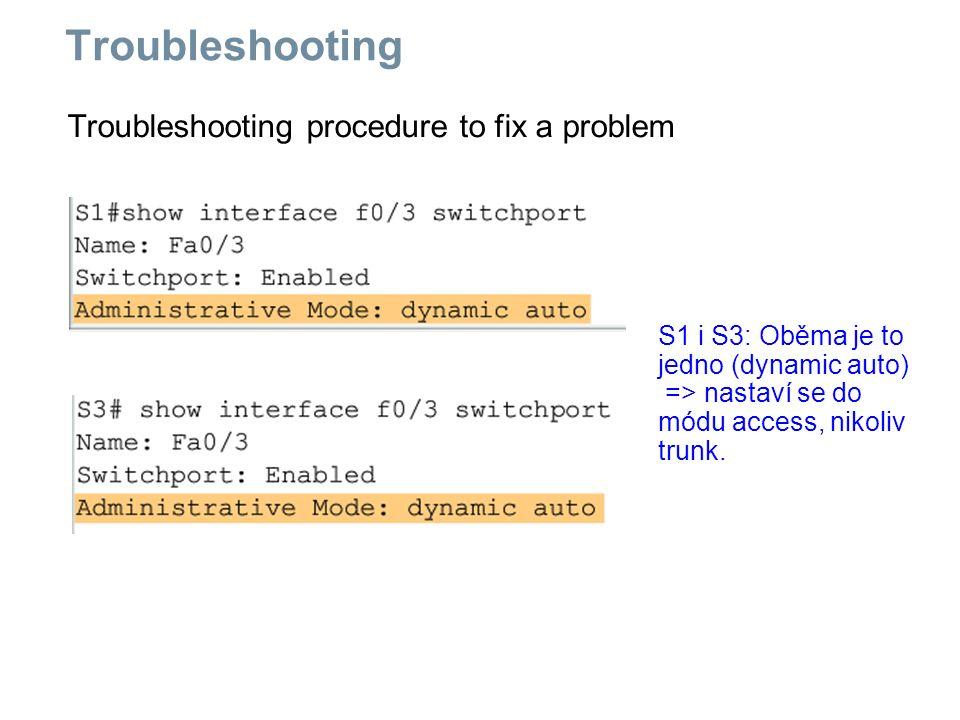 Troubleshooting procedure to fix a problem Troubleshooting S1 i S3: Oběma je to jedno (dynamic auto) => nastaví se do módu access, nikoliv trunk.