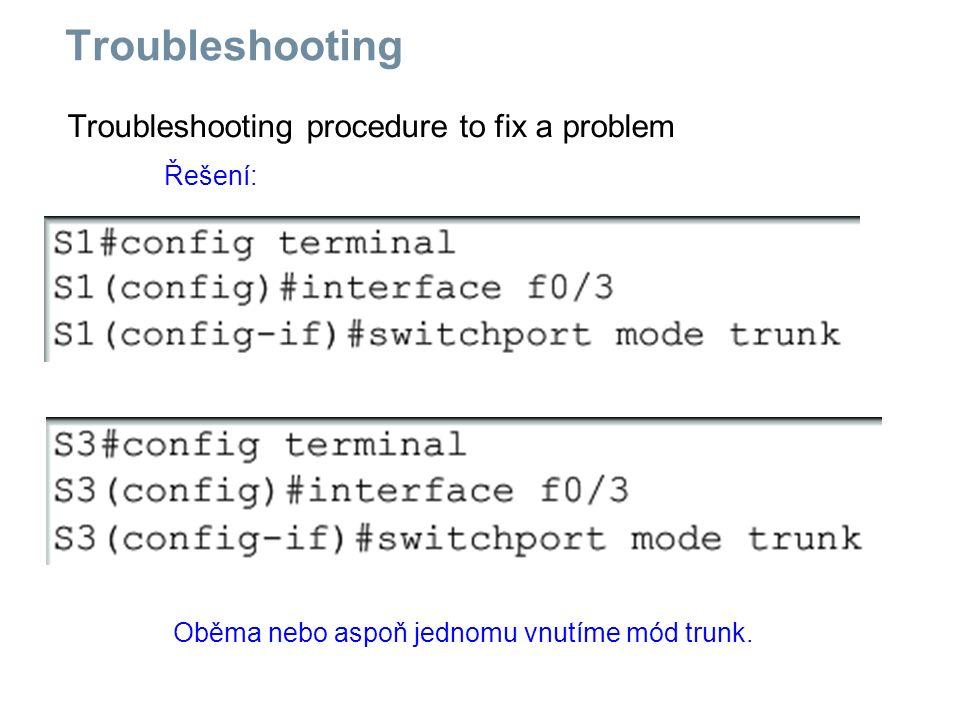 Troubleshooting procedure to fix a problem Troubleshooting Řešení: Oběma nebo aspoň jednomu vnutíme mód trunk.