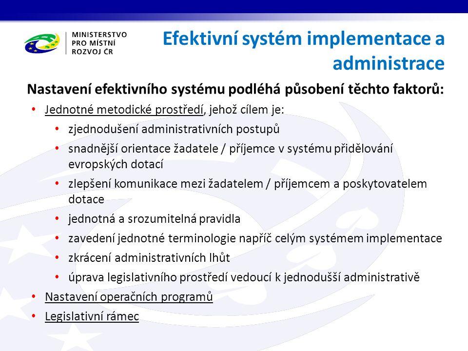 Efektivní systém implementace a administrace Nastavení efektivního systému podléhá působení těchto faktorů: Jednotné metodické prostředí, jehož cílem je: zjednodušení administrativních postupů snadnější orientace žadatele / příjemce v systému přidělování evropských dotací zlepšení komunikace mezi žadatelem / příjemcem a poskytovatelem dotace jednotná a srozumitelná pravidla zavedení jednotné terminologie napříč celým systémem implementace zkrácení administrativních lhůt úprava legislativního prostředí vedoucí k jednodušší administrativě Nastavení operačních programů Legislativní rámec