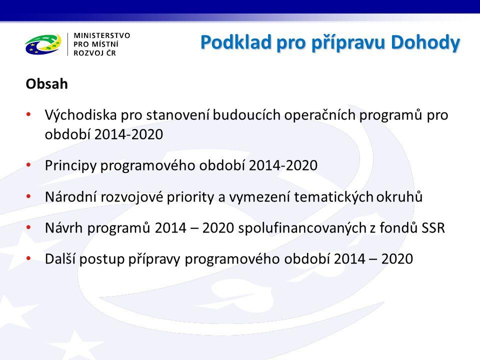 Obsah Východiska pro stanovení budoucích operačních programů pro období 2014-2020 Principy programového období 2014-2020 Národní rozvojové priority a