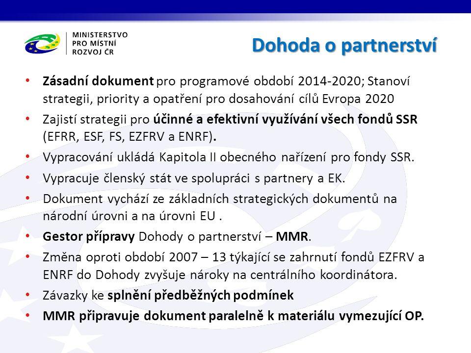 Zásadní dokument pro programové období 2014-2020; Stanoví strategii, priority a opatření pro dosahování cílů Evropa 2020 Zajistí strategii pro účinné a efektivní využívání všech fondů SSR (EFRR, ESF, FS, EZFRV a ENRF).