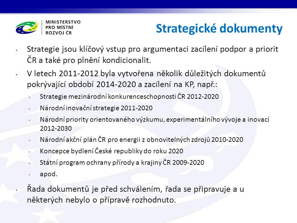 Strategie jsou klíčový vstup pro argumentaci zacílení podpor a priorit ČR a také pro plnění kondicionalit. V letech 2011-2012 byla vytvořena několik d