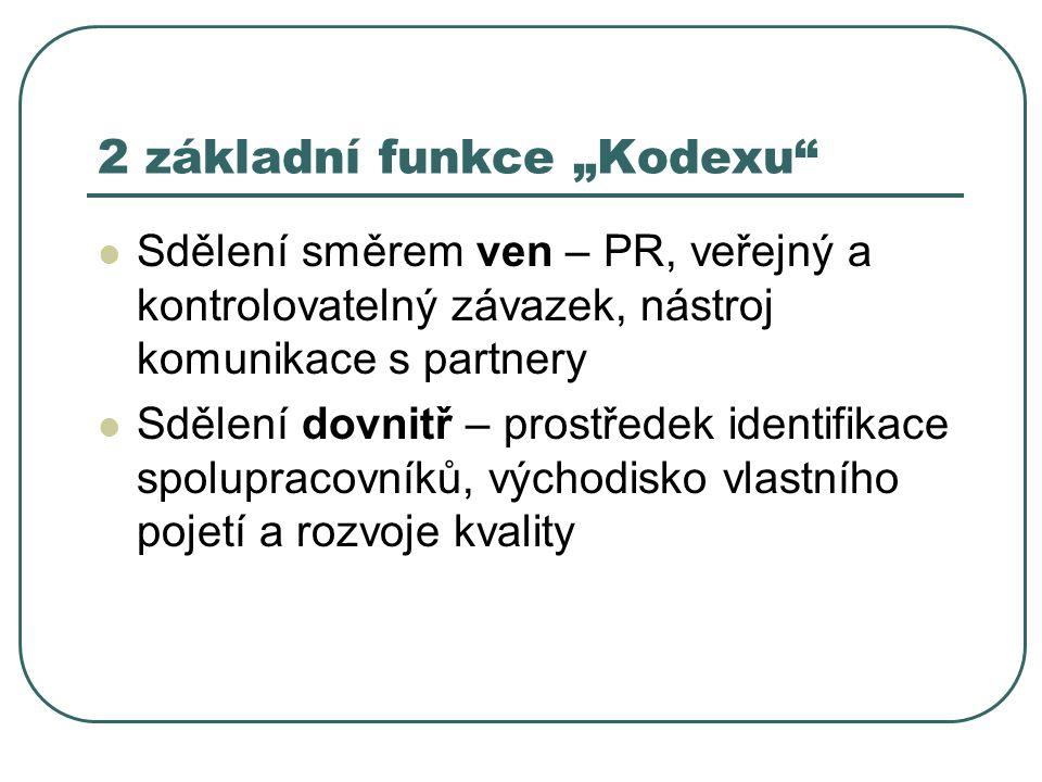 """2 základní funkce """"Kodexu"""" Sdělení směrem ven – PR, veřejný a kontrolovatelný závazek, nástroj komunikace s partnery Sdělení dovnitř – prostředek iden"""