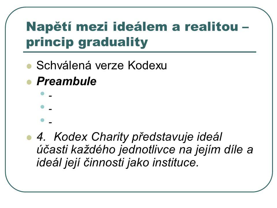 Napětí mezi ideálem a realitou – princip graduality Schválená verze Kodexu Preambule - - - 4. Kodex Charity představuje ideál účasti každého jednotliv
