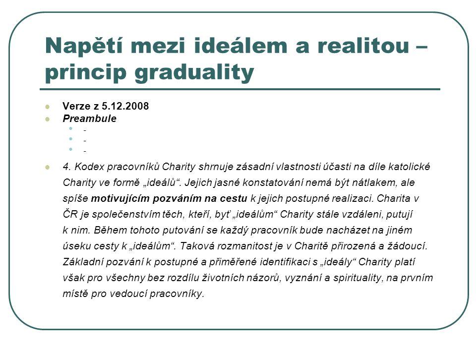 Napětí mezi ideálem a realitou – princip graduality Verze z 5.12.2008 Preambule - - - 4. Kodex pracovníků Charity shrnuje zásadní vlastnosti účasti na