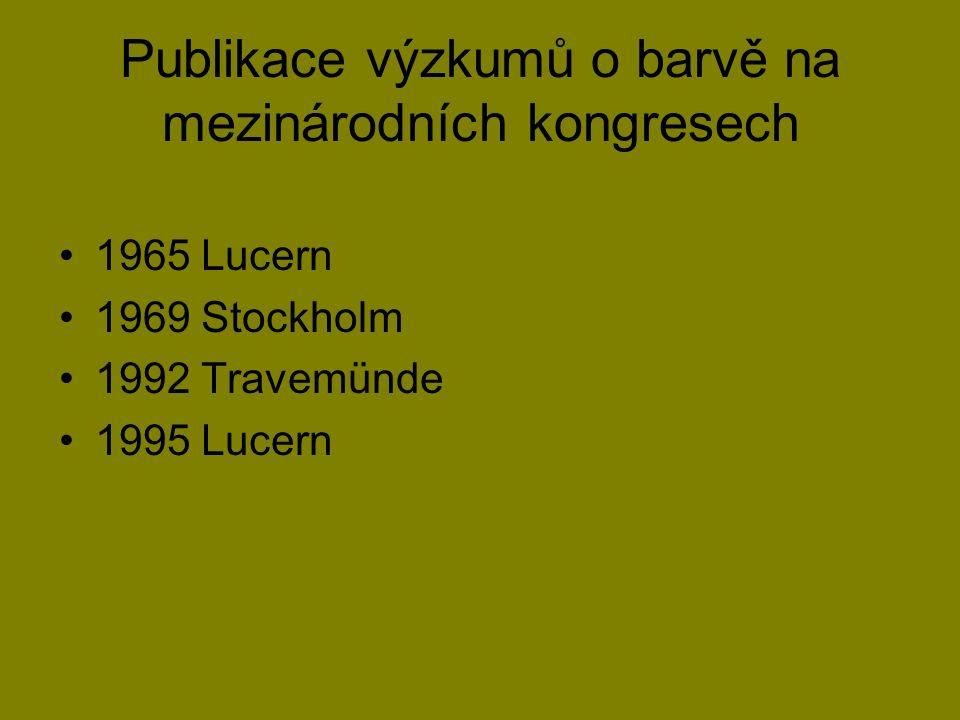 Publikace výzkumů o barvě na mezinárodních kongresech 1965 Lucern 1969 Stockholm 1992 Travemünde 1995 Lucern