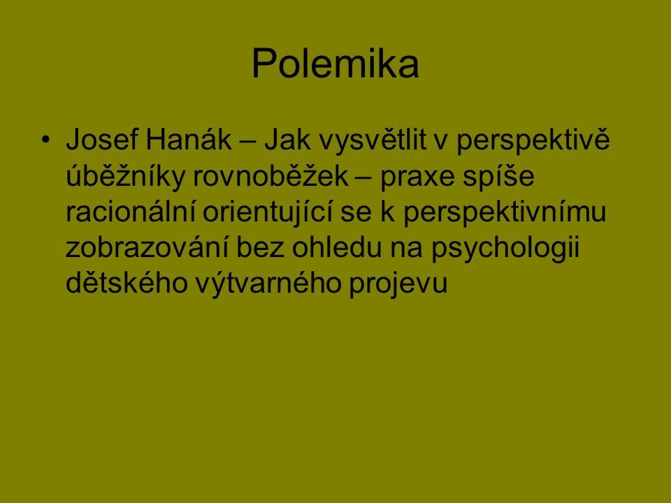 Polemika Josef Hanák – Jak vysvětlit v perspektivě úběžníky rovnoběžek – praxe spíše racionální orientující se k perspektivnímu zobrazování bez ohledu na psychologii dětského výtvarného projevu