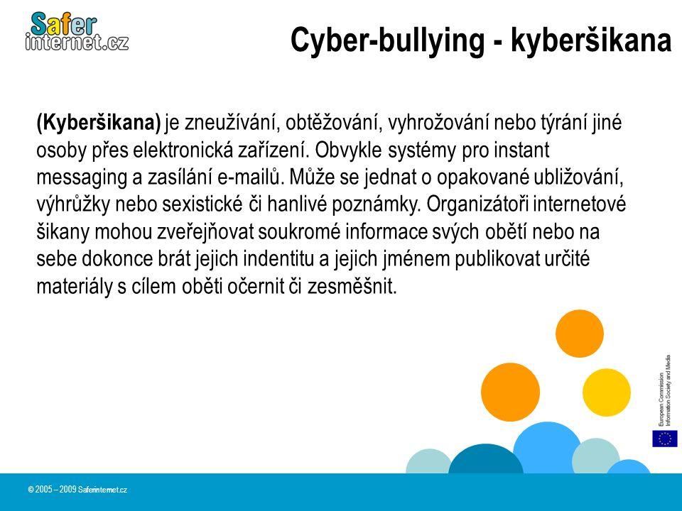 Cyber-bullying - kyberšikana (Kyberšikana) je zneužívání, obtěžování, vyhrožování nebo týrání jiné osoby přes elektronická zařízení. Obvykle systémy p