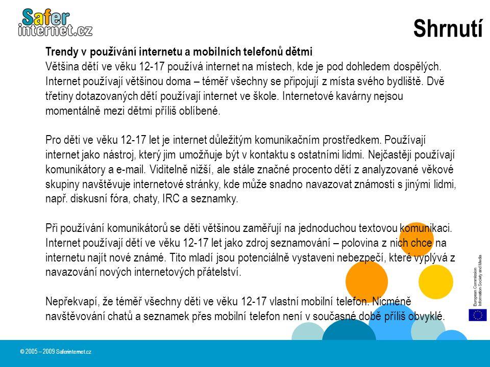 Shrnutí © 2005 – 2009 Saferinternet.cz Trendy v používání internetu a mobilních telefonů dětmi Většina dětí ve věku 12-17 používá internet na místech,