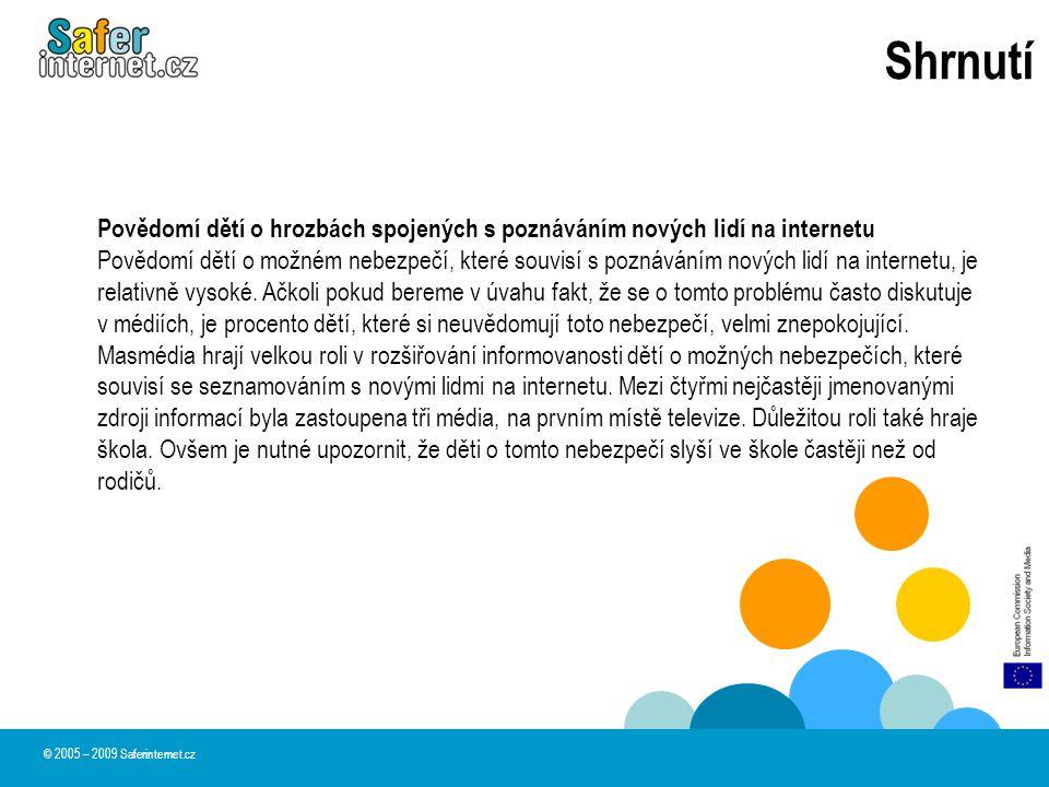Shrnutí © 2005 – 2009 Saferinternet.cz Povědomí dětí o hrozbách spojených s poznáváním nových lidí na internetu Povědomí dětí o možném nebezpečí, kter