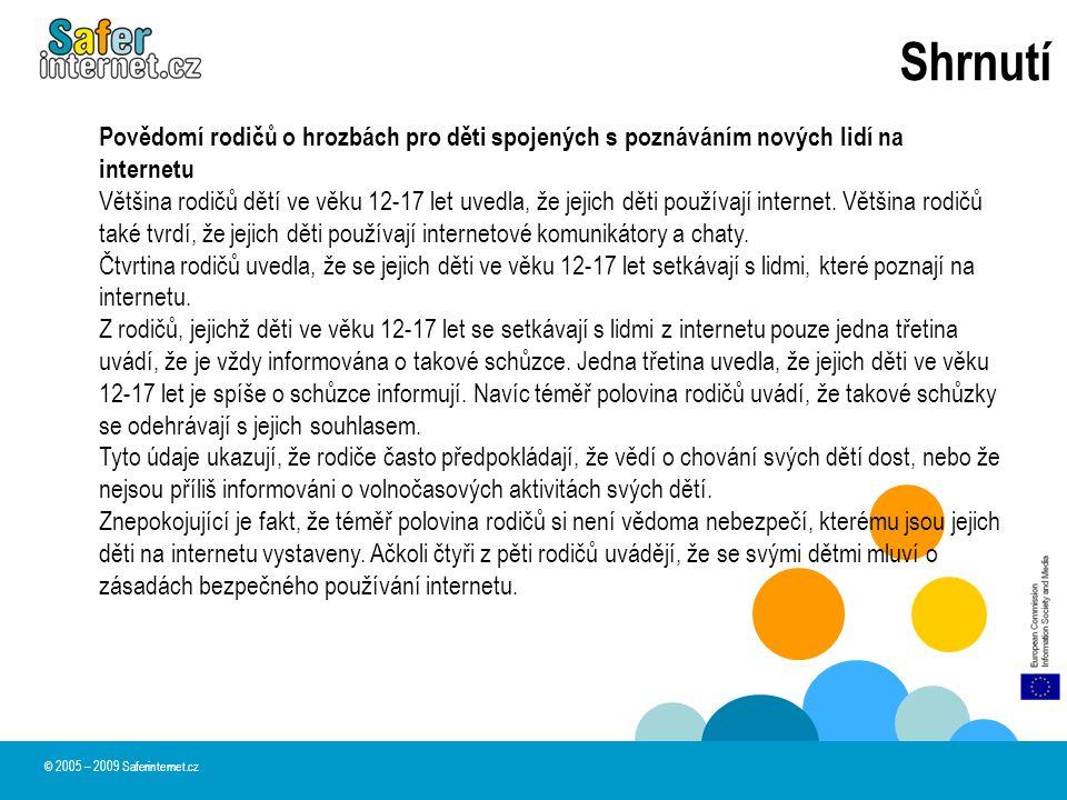 Shrnutí © 2005 – 2009 Saferinternet.cz Povědomí rodičů o hrozbách pro děti spojených s poznáváním nových lidí na internetu Většina rodičů dětí ve věku