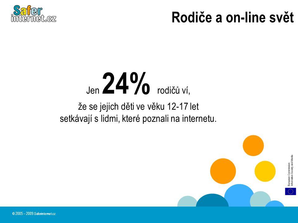 Rodiče a on-line svět © 2005 – 2009 Saferinternet.cz Jen 24% rodičů ví, že se jejich děti ve věku 12-17 let setkávají s lidmi, které poznali na intern