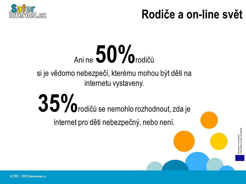 Rodiče a on-line svět © 2005 – 2009 Saferinternet.cz Ani ne 50% rodičů si je vědomo nebezpečí, kterému mohou být děti na internetu vystaveny. 35% rodi