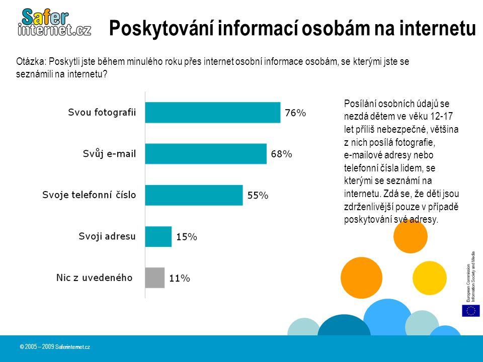 Poskytování informací osobám na internetu © 2005 – 2009 Saferinternet.cz Posílání osobních údajů se nezdá dětem ve věku 12-17 let příliš nebezpečné, v