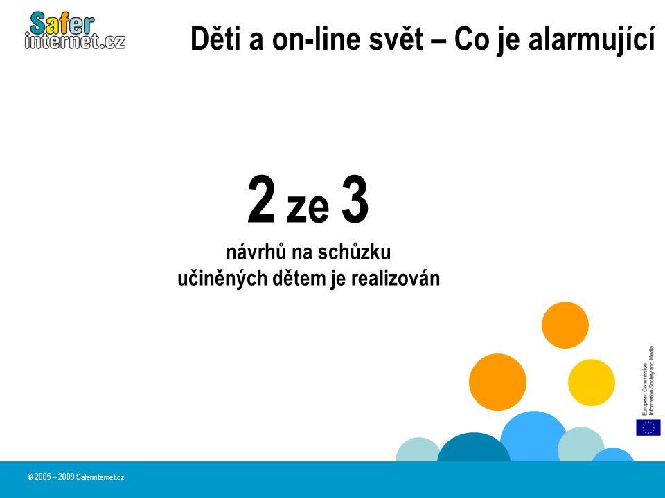 Děti a on-line svět – Co je alarmující 2 ze 3 návrhů na schůzku učiněných dětem je realizován © 2005 – 2009 Saferinternet.cz