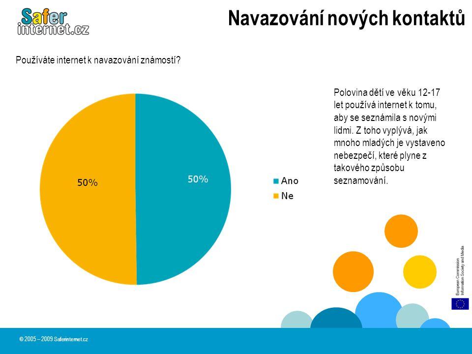 Navazování nových kontaktů © 2005 – 2009 Saferinternet.cz Polovina dětí ve věku 12-17 let používá internet k tomu, aby se seznámila s novými lidmi. Z