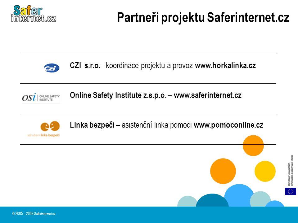 Partneři projektu Saferinternet.cz CZI s.r.o. – koordinace projektu a provoz www.horkalinka.cz Online Safety Institute z.s.p.o. – www.saferinternet.cz