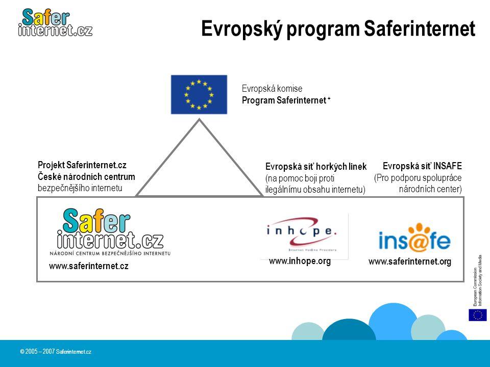 © 2005 – 2007 Saferinternet.cz Evropský program Saferinternet Evropská komise Program Saferinternet + Evropská síť INSAFE (Pro podporu spolupráce náro