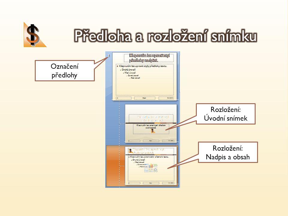 Označení předlohy Rozložení: Úvodní snímek Rozložení: Nadpis a obsah