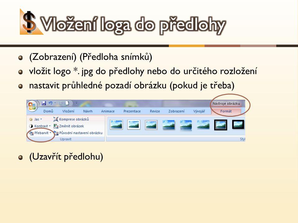 (Zobrazení) (Předloha snímků) vložit logo *. jpg do předlohy nebo do určitého rozložení nastavit průhledné pozadí obrázku (pokud je třeba) (Uzavřít př