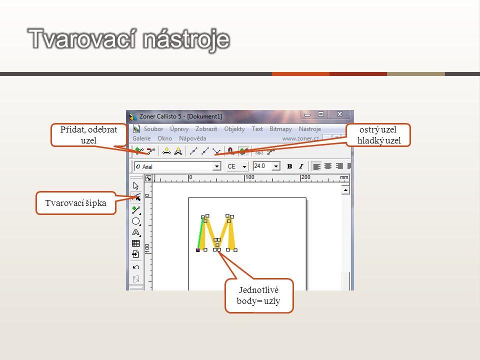 Tvarovací šipka Jednotlivé body= uzly Přidat, odebrat uzel ostrý uzel hladký uzel