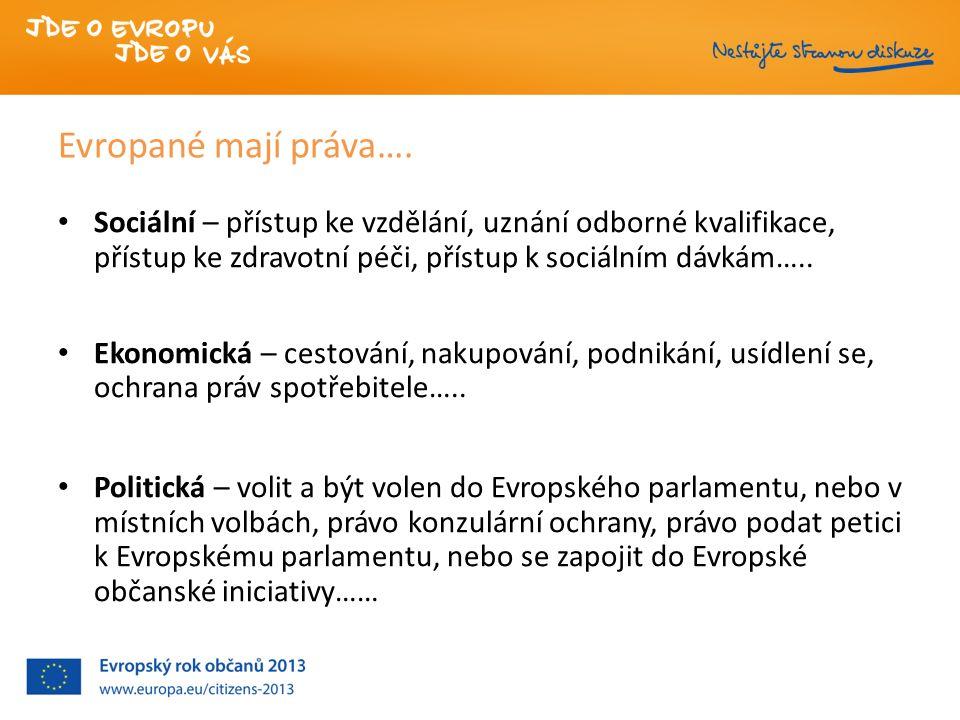 Evropané mají práva…. Sociální – přístup ke vzdělání, uznání odborné kvalifikace, přístup ke zdravotní péči, přístup k sociálním dávkám….. Ekonomická