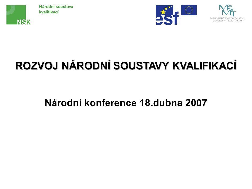 ROZVOJ NÁRODNÍ SOUSTAVY KVALIFIKACÍ Národní konference 18.dubna 2007