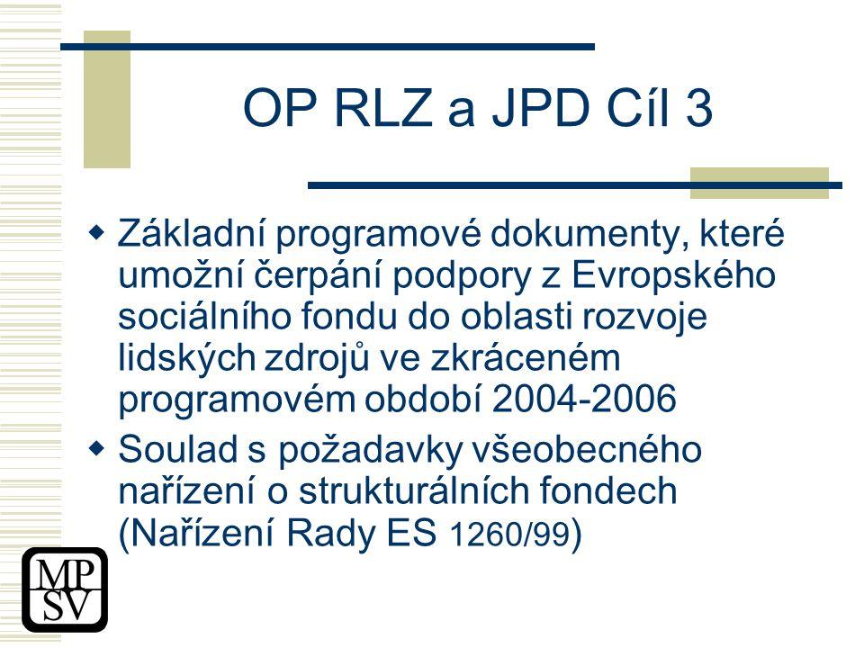 OP RLZ a JPD Cíl 3  Základní programové dokumenty, které umožní čerpání podpory z Evropského sociálního fondu do oblasti rozvoje lidských zdrojů ve zkráceném programovém období 2004-2006  Soulad s požadavky všeobecného nařízení o strukturálních fondech (Nařízení Rady ES 1260/99 )