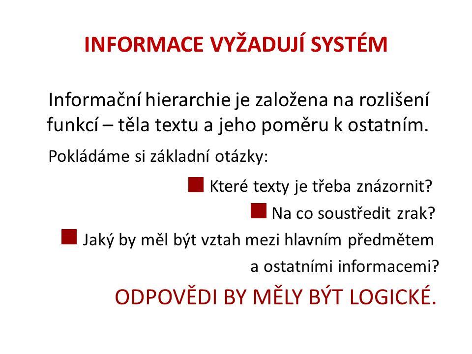 INFORMACE VYŽADUJÍ SYSTÉM Informační hierarchie je založena na rozlišení funkcí – těla textu a jeho poměru k ostatním. Pokládáme si základní otázky: K